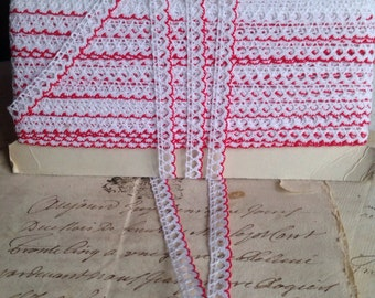 Vintage Lace Trim. White & Red Lace 6 Yards Antique Lace French Haberdashery Dolls Bears Ballet. Home Furnishings, Sewing Supplies NOS