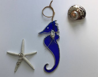 Cobalt Blue Seahorse Stained Glass Sun Catcher