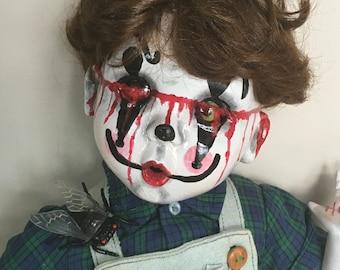 creepy clown doll, Halloween prop,