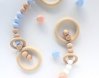 Baby rattle teething toy pram play gym wood beech silicone teether BPA free