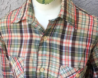 Levis Western 1980s vintage long sleeve plaid shirt - size small