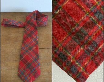 Vintage Red and Green Plaid Hardy Amies London Necktie / 1970s Polyester Tie