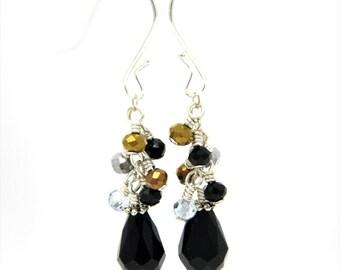 Black Silver Gold Earrings, Cluster Earrings, Simple Black Earrings