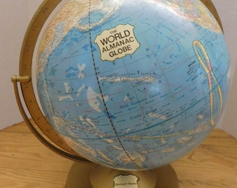 "Vintage The World Almanac Globe 12"" 1962 George F. Cram"