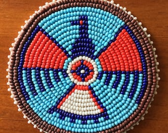 "Vintage 3"" Phoenix Thunderbird Seed Beaded Rosette Medallion w Leather Backing"