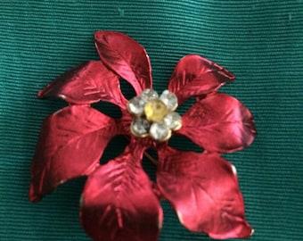 Vintage Christmas Poinsettia Pin Brooch