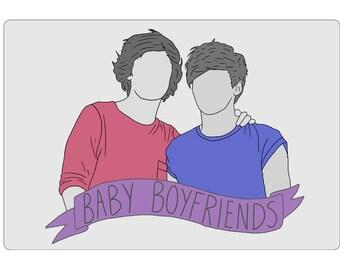 Baby Boyfriends Sticker One Direction Harry Styles Louis Tomlinson Larry Stylinson Art Drawing Illustration Stationery Banner