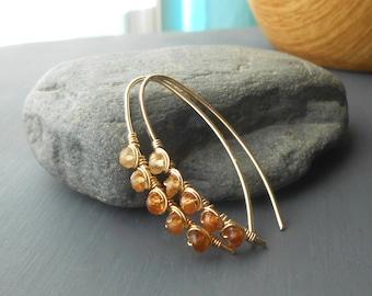 Gold Filled Wire Wrapped Gemstone Earrings, Hessonite Garnet