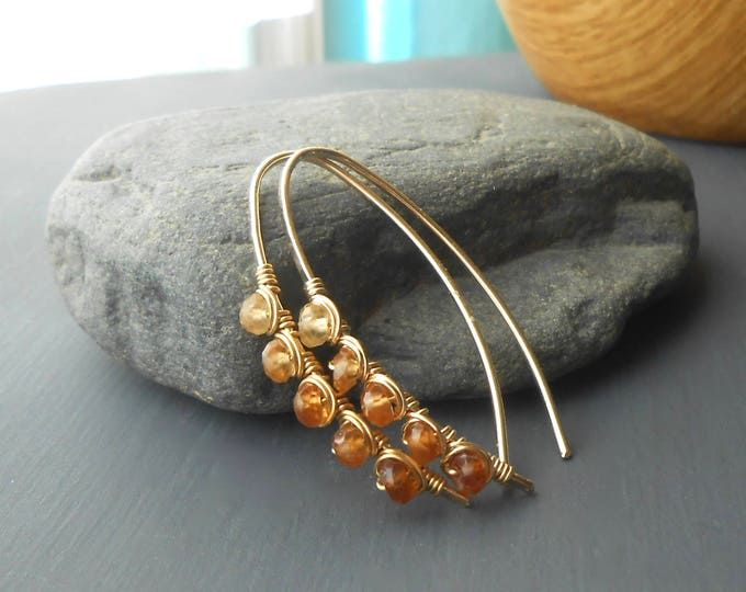Featured listing image: Gold Filled Wire Wrapped Gemstone Earrings, Hessonite Garnet