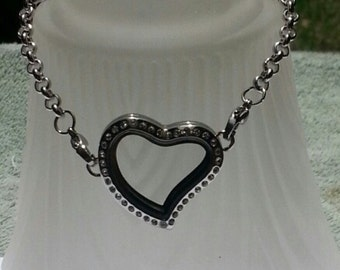 CZ Curved Heart Stainless Steel Locket Bracelet for Floating Charm Charms