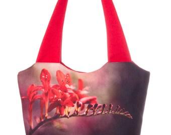 Freesia Print Bag Red Shoulder Bag Floral Handbag Fabric Bag (C0302)