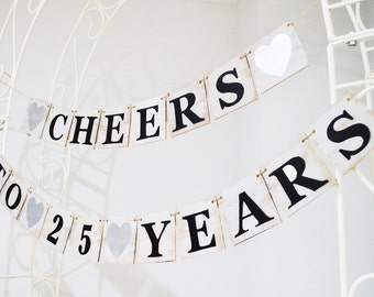 Wooden Cheers To 25 Years banner, Rustic wooden sign, anniversary gift, wooden custom banner, wooden garland, garland, custom banner