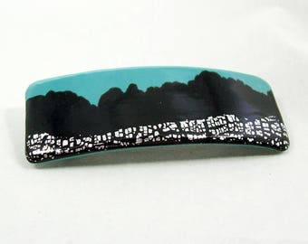Rectangle Barrette Handmade from Polymer Clay - Silver Leaf on Black, Black and Turquoise