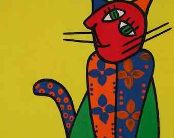 "Cat Sissy... original painting, 9.1x12.2"", 23x31 cm, gouache, paper, abstract, cat, animal, pet, fantasy"