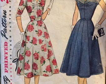 Vintage Dress  Sewing Pattern 50's Simplicity 4345 Bust 30 Complete