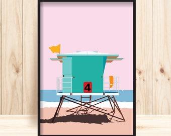 California Art Prints, Santa Cruz Beach, Lifeguard Tower Print, California Beach Wall Art, Lifeguard Stand, Florida Prints, Miami Beach Art