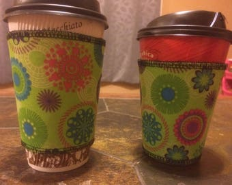 Lime green coffee sleeve