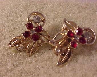 Red Rhinestone Clip-On Earrings Gold Base