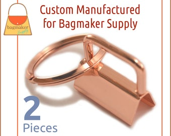 1 Inch Deluxe Key Fob Hardware, Shiny Rose Gold / Copper Finish, 2 Sets, One Inch, 25 mm Purse Handbag Hardware Jewelry, KRA-AA012