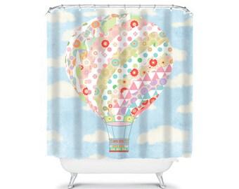 kids shower curtain, hot air balloon shower curtain, kids bathroom decor, childrens shower curtain, girls shower curtain blue shower curtain