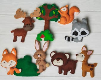 Felt Woodland animals Bear stuff toy Kids felt toys Forest Nursery decor plush magnets for toddlers First birthday gift for baby Owl animals