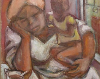 vintage oil on canvas of mother and child