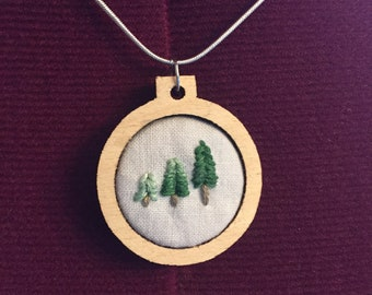 3 Trees - Handmade Embroidery Pendant and Necklace. Pine trees, forest, green.