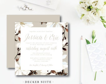 Set of 100 Invitations with Reply Card | Magnolia Decker Design | Wedding Invitation & additional pieces | Printed by Darby Cards Collective