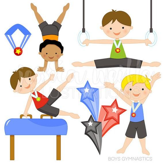 Boys Gymnastics Cute Digital Clipart Commercial Use OK