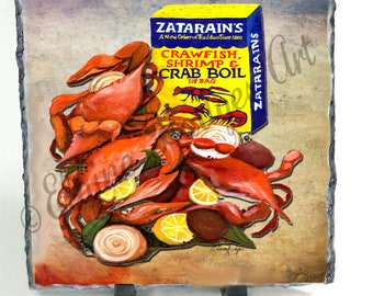 Boiled Crabs with New Orleans, Louisiana, Seasoning From Original Artwork