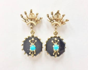 Antique 1910's Onyx and Turquoise Earrings - 14 karat yellow gold