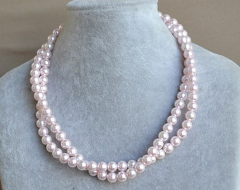 pink pearl Necklace, 2 rows 8mm Pearl Necklace,Women Necklace, bridesmaid necklace, glass pearl necklace,statement necklace,wedding necklace