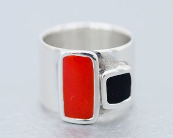 Red Silver Ring - Geometrical Silver Ring - Different Silver Ring - Statement Silver Ring - Chunky Red and Black Ring - Free Shipping
