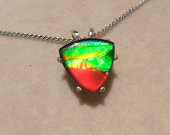 Canadian Ammolite Sterling Silver Pendant WAS 85.00 on SALE 75.00
