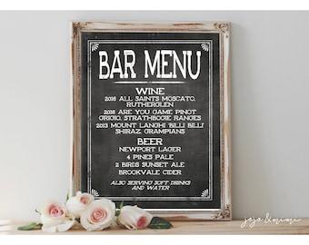 Custom 'BAR MENU' Beer and Wine Sign Printable 8x10 OR 11X14 Chalkboard Wedding Printable Drink Selection Sign