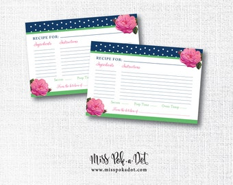 Navy Polka Dot Recipe Card, Printable, Preppy Bridal Wedding Shower, Pink and Green, Derby Hat, DIY, Instant Download, Digital