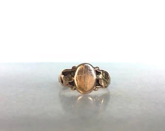 Warm Victorian Foliate Signet Ring Unengraved