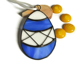 Easter Egg Ornament indigo blue and white, Stained Glass Easter Egg, Spring Window Decoration, Holiday Wall Decor, Decorative Easter Egg