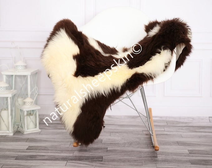 Sheepskin Rug | Real Sheepskin Rug | Shaggy Rug | Chair Cover | Sheepskin Throw | Ivory Brown Sheepskin | Home Decor | #febher71