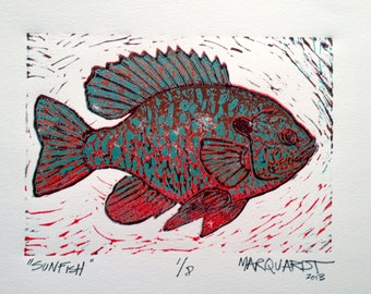 Sunfish reduction 5 color linocut print fly fishing artwork by Jonathan Marquardt BadAxeDesign