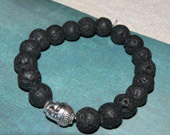 Tibetan Buddha/Buddhism or Tree Of Life Lava Rock (Basalt) Beads (Mala) Unisex Bracelet