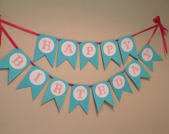 Happy Birthday Banner - Girl's Party Banner Pink and Aqua