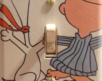 Peanuts Snoopy and Charlie Brown Dancing in Pajamas Light Switch Cover Plate Bedroom Dorm Vet Bathroom FREE SHIPPING in the United States