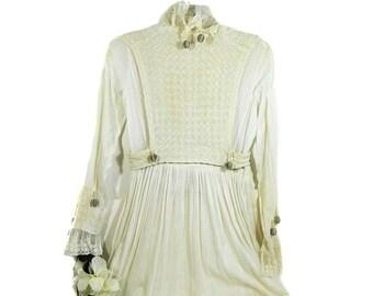 Antique Victorian Edwardian blanc mousseline robe avec plastron gilet