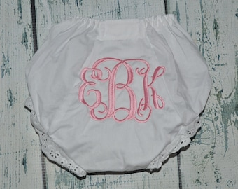 Baby Bloomers Monogrammed Baby Girl Bloomer, Diaper Cover with Monogram, Newborn Bloomers, Personalized Baby Bloomers