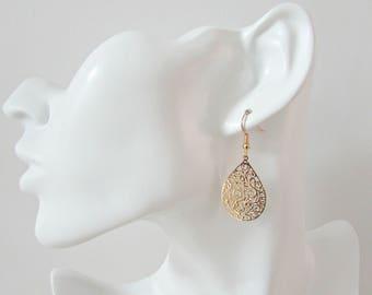 Gold Filigree Earrings, Moroccan Style Earrings, UK Seller, Laser Cut Earrings, Girl Gifts, Bridesmaid Gifts, Bridesmaid Earrings, Boho