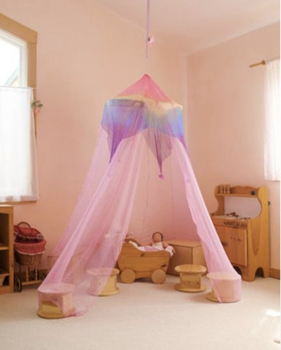 Rose Rainbow Canopy Girlu0027s Bed Canopy Waldorf Silk Gauze Rose Canopy (7 feet tall) & Rose Rainbow Canopy Girlu0027s Bed Canopy Waldorf Silk Gauze