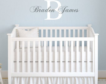 Name Wall Decal Personalized Initial and Name Kids Wall Decal for Boy or Girls Bedroom or Nursery