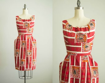 vintage 1950s dress / 50s Alfred Shaheen Hawaiian dress / extra small / Sweet Leilani Dress