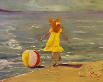BEACH BALL DANCE, Original 12 X 16 Oil Painting of girl playing with beach ball by Lesley Mills from Merlin's Garden Free Domestic Shipping